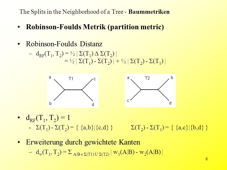 8 Robinson-Foulds Metrik (partition metric) Robinson-Foulds Distanz –d RF (T 1, T 2 ) = ½ | Σ(T 1 ) Δ Σ(T 2 ) | = ½ | Σ(T 1 ) - Σ(T 2 ) | + ½ | Σ(T 2 ) - Σ(T 1 ) | Erweiterung durch gewichtete Kanten –d w (T 1, T 2 ) = Σ A|B є Σ(T1) U Σ(T2) | w 1 (A|B) - w 2 (A|B) | The Splits in the Neighborhood of a Tree - Baummetriken d RF (T 1, T 2 ) = 1 -Σ(T 1 ) - Σ(T 2 ) = { {a,b}|{c,d} }Σ(T 2 ) - Σ(T 1 ) = { {a,c}|{b,d} }
