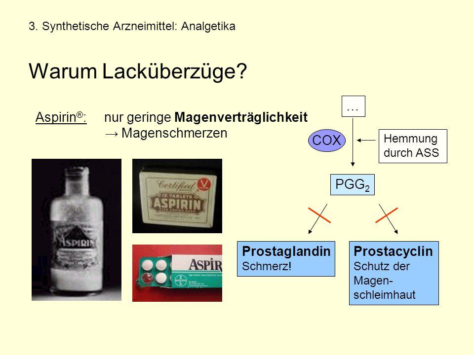 3.Synthetische Arzneimittel: Analgetika Warum Lacküberzüge.