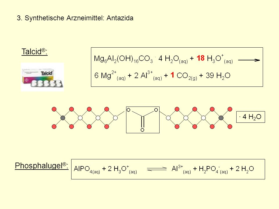 3. Synthetische Arzneimittel: Antazida Talcid ® : Phosphalugel ® : · 4 H 2 O
