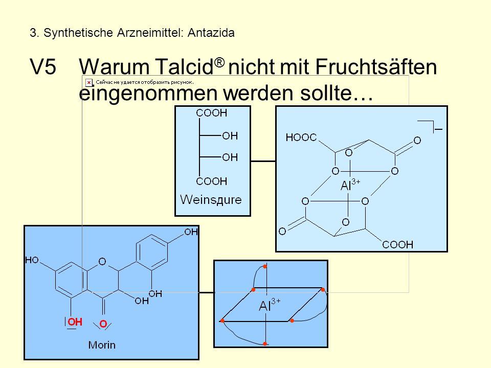 3. Synthetische Arzneimittel: Antazida V5Warum Talcid ® nicht mit Fruchtsäften eingenommen werden sollte…