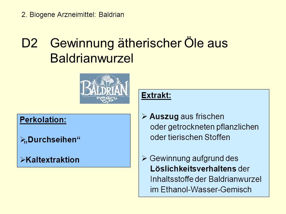 Extrakt:  Auszug aus frischen oder getrockneten pflanzlichen oder tierischen Stoffen  Gewinnung aufgrund des Löslichkeitsverhaltens der Inhaltsstoffe der Baldrianwurzel im Ethanol-Wasser-Gemisch 2.