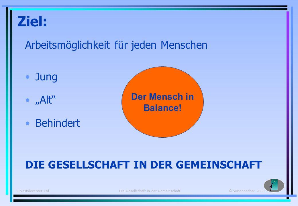 Livestylecenter Ltd. Die Gesellschaft in der Gemeinschaft © Seisenbacher 2008 Livestylecenter Ltd.