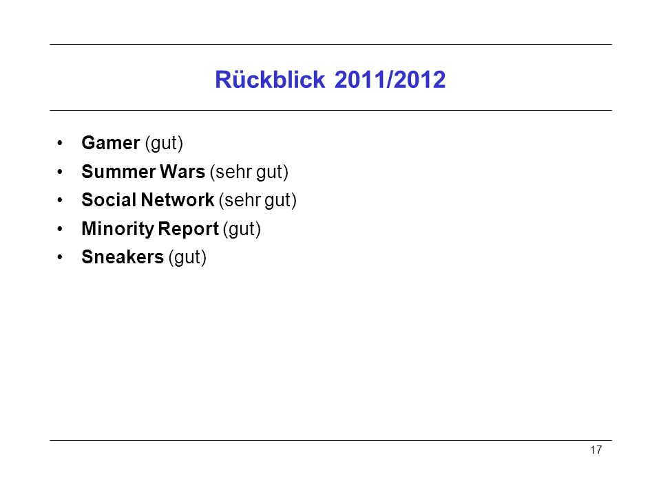 17 Rückblick 2011/2012 Gamer (gut) Summer Wars (sehr gut) Social Network (sehr gut) Minority Report (gut) Sneakers (gut)