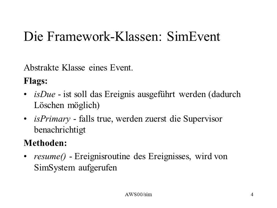 AWS00/sim4 Die Framework-Klassen: SimEvent Abstrakte Klasse eines Event. Flags: isDue - ist soll das Ereignis ausgeführt werden (dadurch Löschen mögli