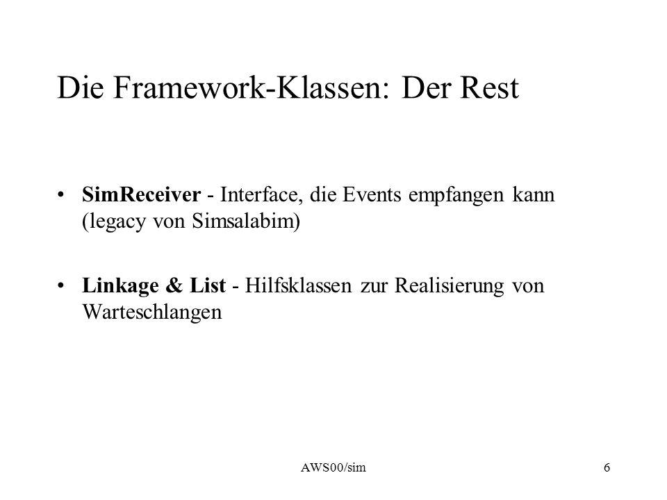 AWS00/sim6 Die Framework-Klassen: Der Rest SimReceiver - Interface, die Events empfangen kann (legacy von Simsalabim) Linkage & List - Hilfsklassen zu