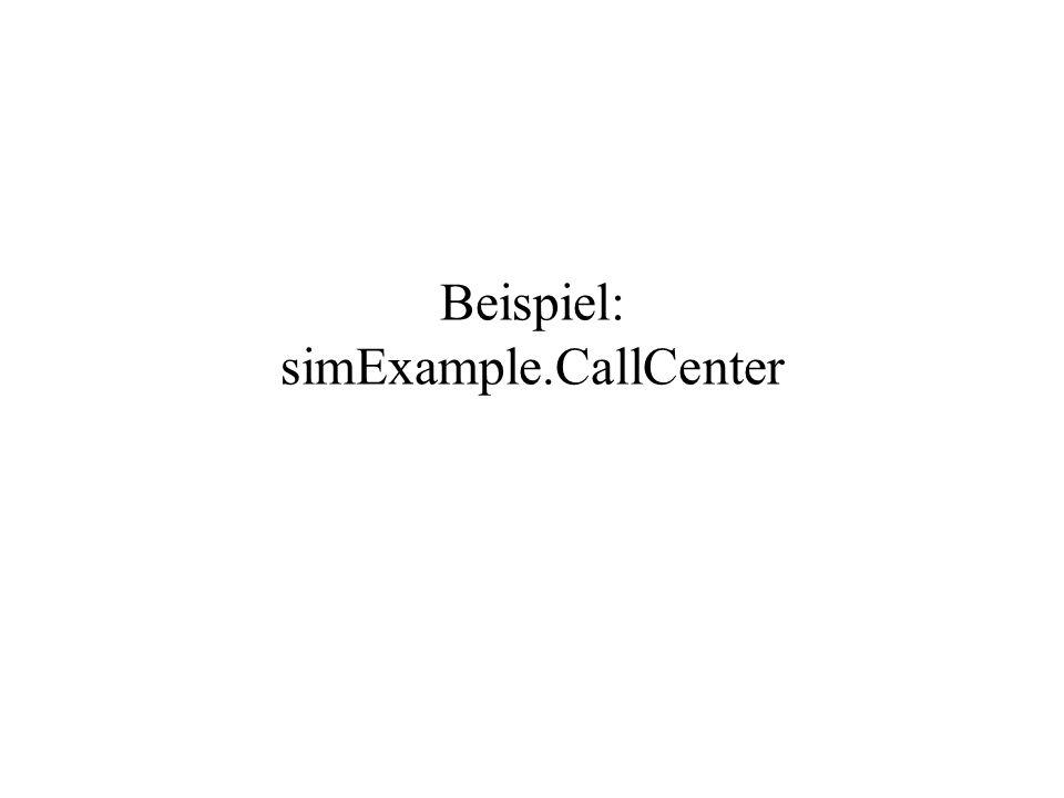 AWS00/sim9 Beispiel: simExample.CallCenter Das Beispiel aus der Vorlesung mit Hilfe des Simulationsframeworks.