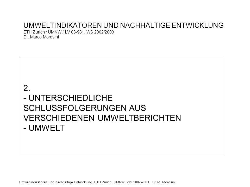 Umweltindikatoren und nachhaltige Entwicklung. ETH Zürich, UMNW, WS 2002-2003. Dr. M. Morosini UMWELTINDIKATOREN UND NACHHALTIGE ENTWICKLUNG ETH Züric