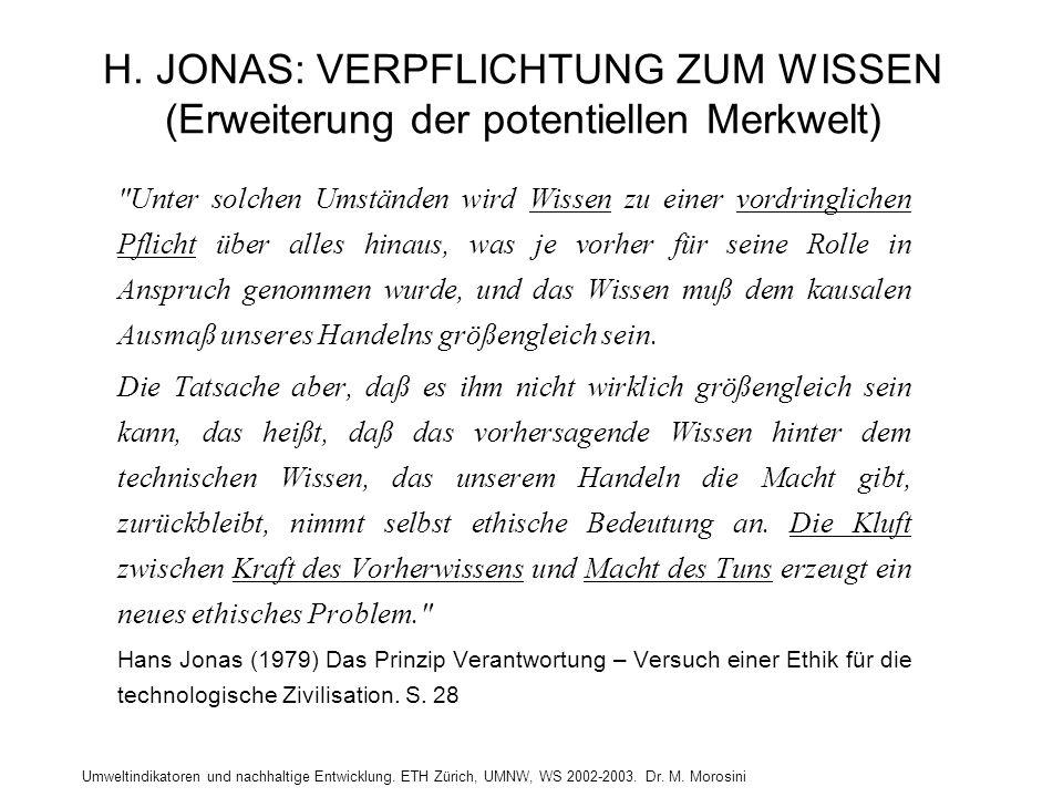 Umweltindikatoren und nachhaltige Entwicklung. ETH Zürich, UMNW, WS 2002-2003. Dr. M. Morosini H. JONAS: VERPFLICHTUNG ZUM WISSEN (Erweiterung der pot