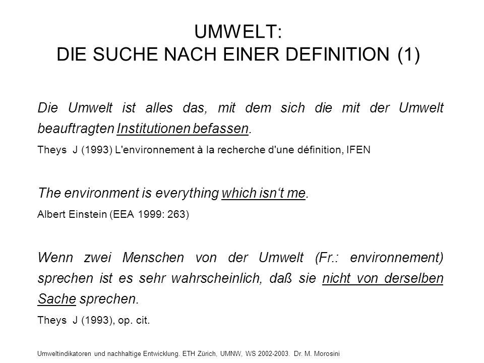 Umweltindikatoren und nachhaltige Entwicklung. ETH Zürich, UMNW, WS 2002-2003. Dr. M. Morosini UMWELT: DIE SUCHE NACH EINER DEFINITION (1) Die Umwelt