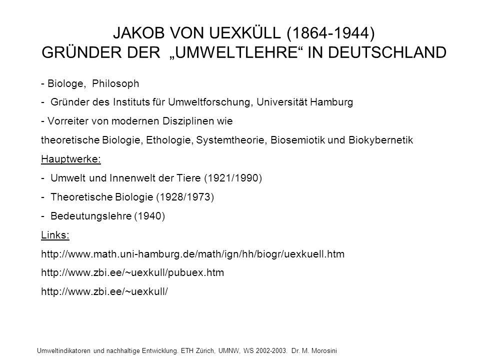 """Umweltindikatoren und nachhaltige Entwicklung. ETH Zürich, UMNW, WS 2002-2003. Dr. M. Morosini JAKOB VON UEXKÜLL (1864-1944) GRÜNDER DER """"UMWELTLEHRE"""""""
