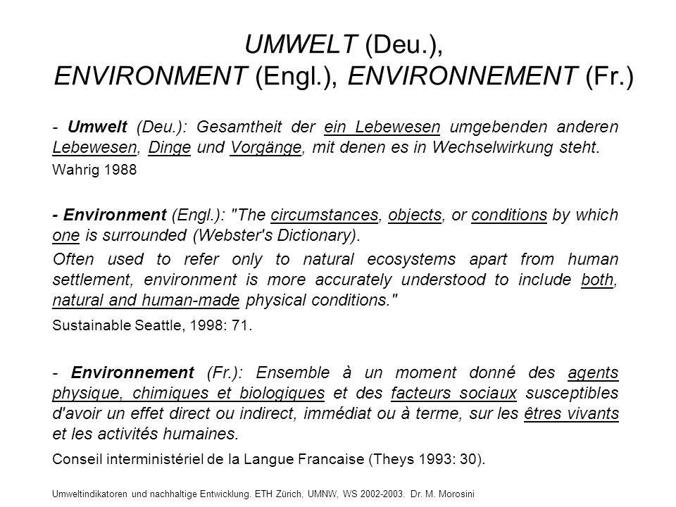 Umweltindikatoren und nachhaltige Entwicklung. ETH Zürich, UMNW, WS 2002-2003. Dr. M. Morosini UMWELT (Deu.), ENVIRONMENT (Engl.), ENVIRONNEMENT (Fr.)