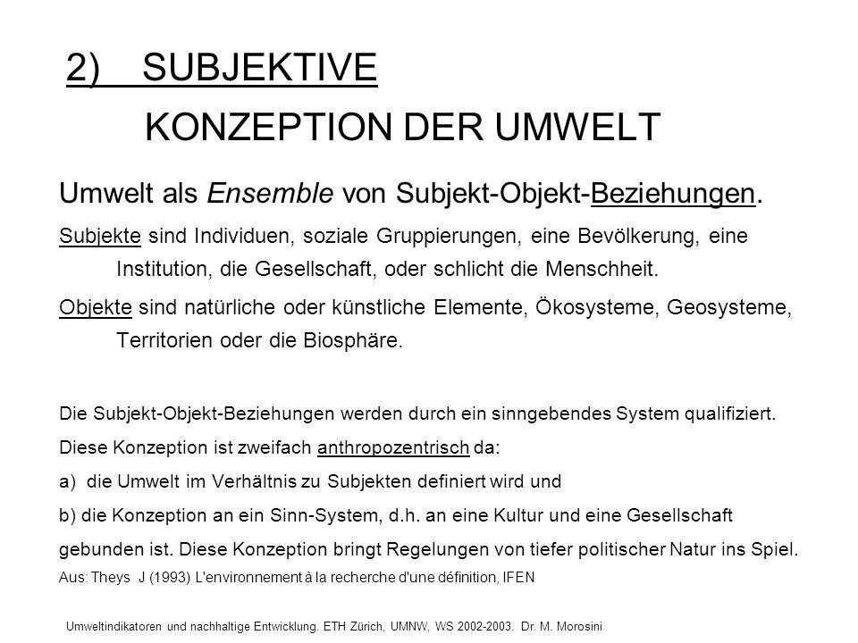 Umweltindikatoren und nachhaltige Entwicklung. ETH Zürich, UMNW, WS 2002-2003. Dr. M. Morosini 2) SUBJEKTIVE KONZEPTION DER UMWELT Umwelt als Ensemble