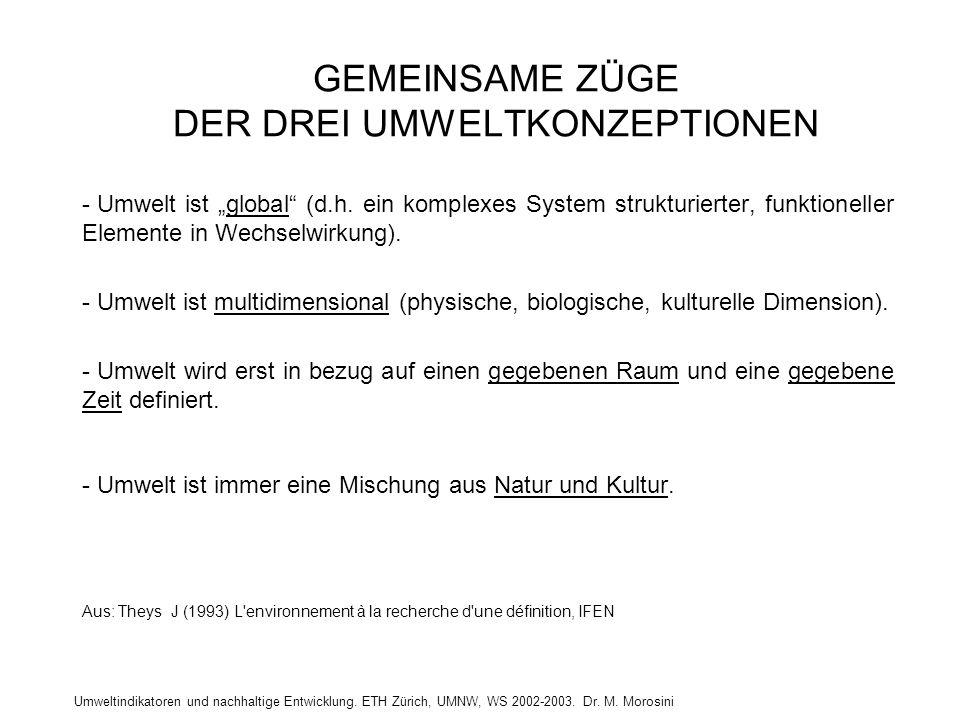 Umweltindikatoren und nachhaltige Entwicklung. ETH Zürich, UMNW, WS 2002-2003. Dr. M. Morosini GEMEINSAME ZÜGE DER DREI UMWELTKONZEPTIONEN - Umwelt is