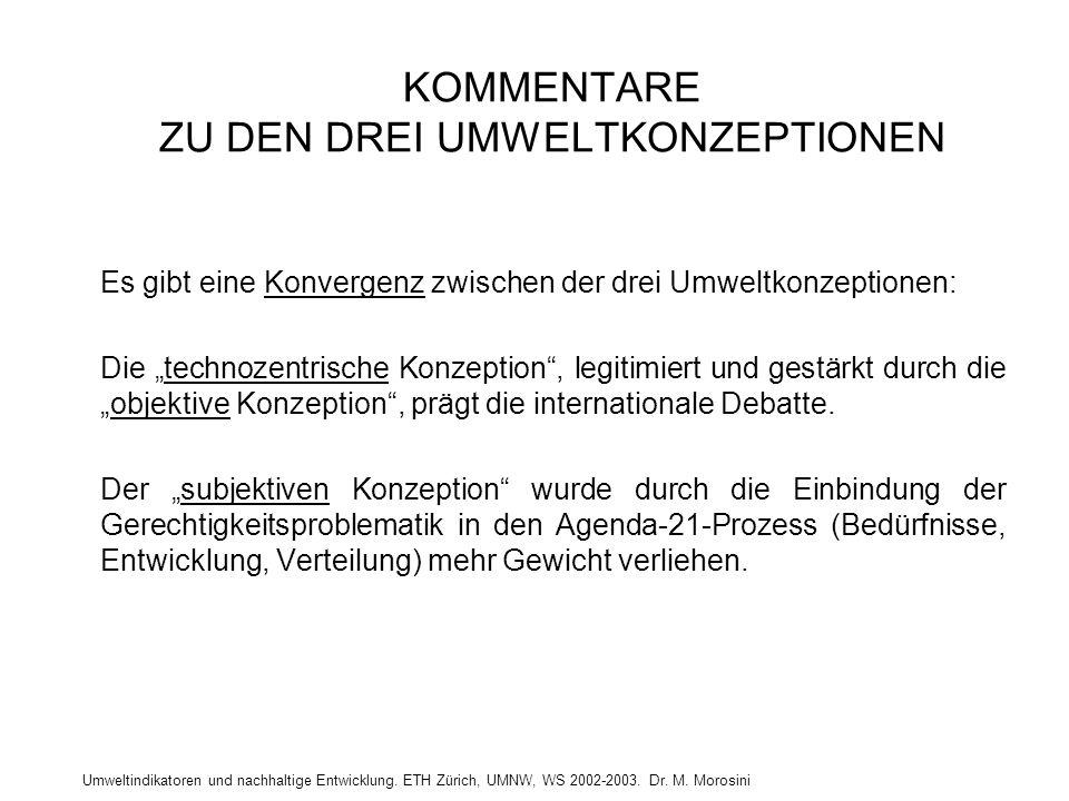 Umweltindikatoren und nachhaltige Entwicklung. ETH Zürich, UMNW, WS 2002-2003. Dr. M. Morosini KOMMENTARE ZU DEN DREI UMWELTKONZEPTIONEN Es gibt eine