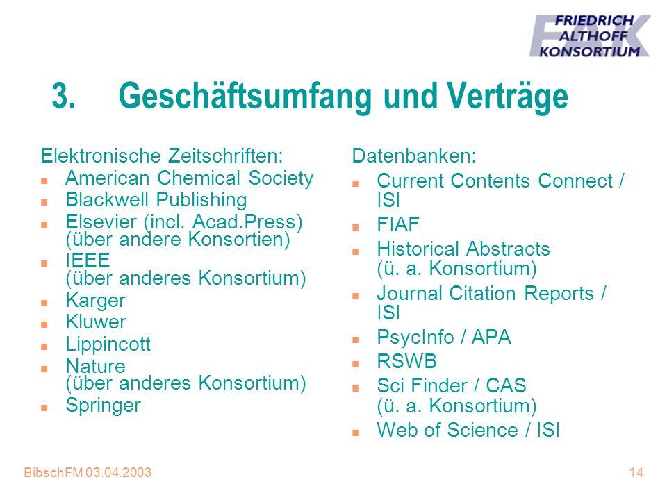 BibschFM 03.04.200314 3.Geschäftsumfang und Verträge Elektronische Zeitschriften: n American Chemical Society n Blackwell Publishing n Elsevier (incl.