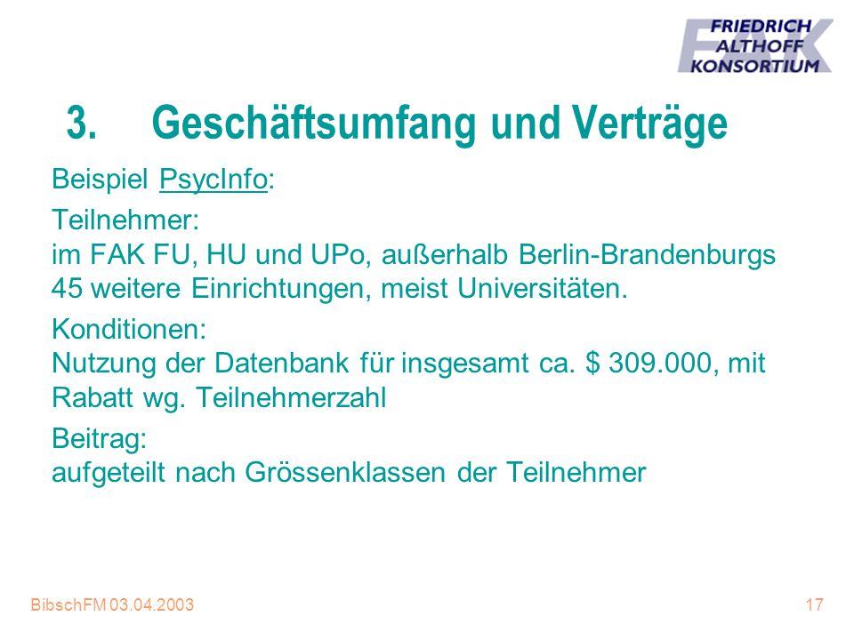 BibschFM 03.04.200317 3.Geschäftsumfang und Verträge Beispiel PsycInfo: Teilnehmer: im FAK FU, HU und UPo, außerhalb Berlin-Brandenburgs 45 weitere Ei