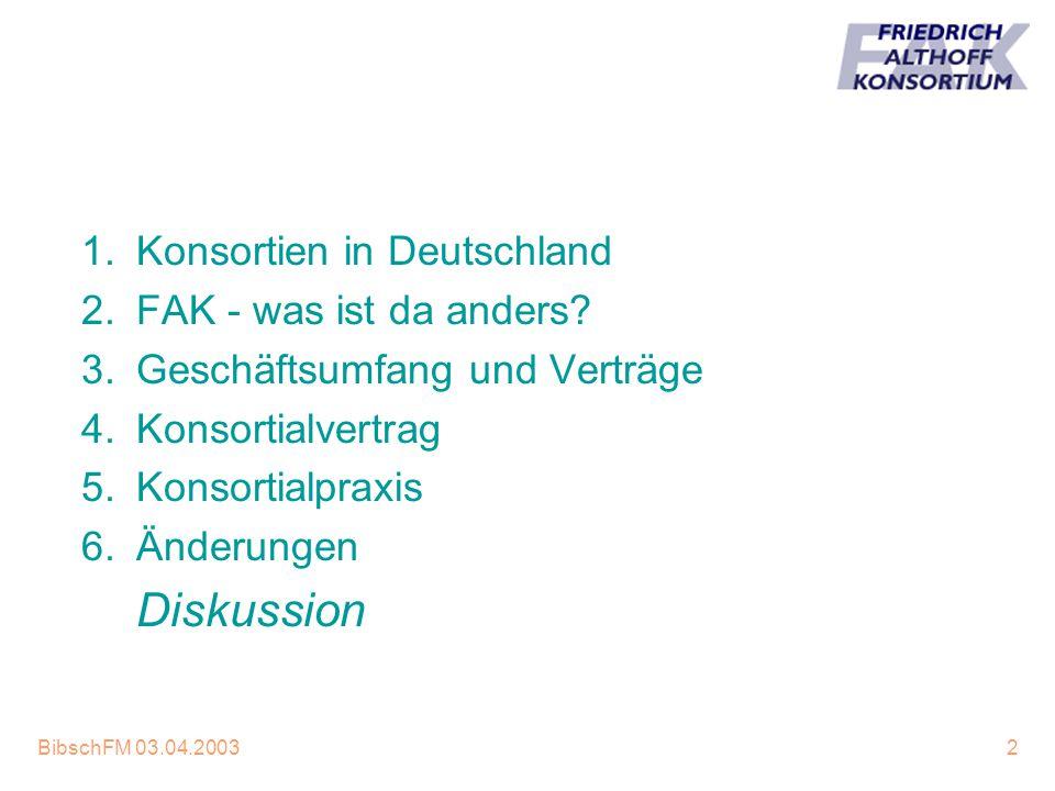 BibschFM 03.04.20032 1.Konsortien in Deutschland 2.FAK - was ist da anders? 3.Geschäftsumfang und Verträge 4.Konsortialvertrag 5.Konsortialpraxis 6.Än