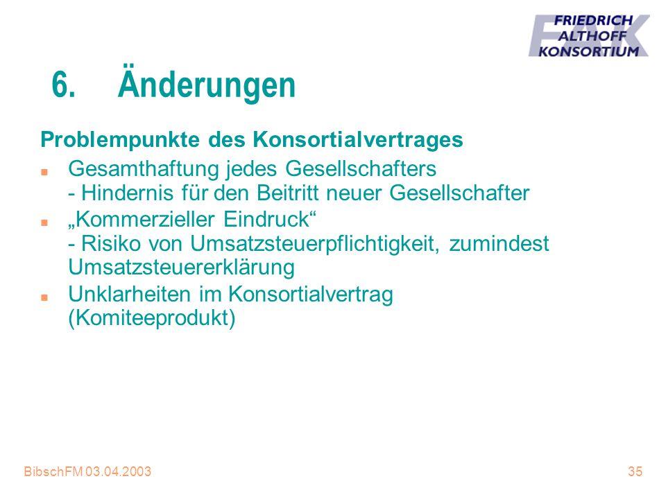 BibschFM 03.04.200335 6.Änderungen Problempunkte des Konsortialvertrages n Gesamthaftung jedes Gesellschafters - Hindernis für den Beitritt neuer Gese