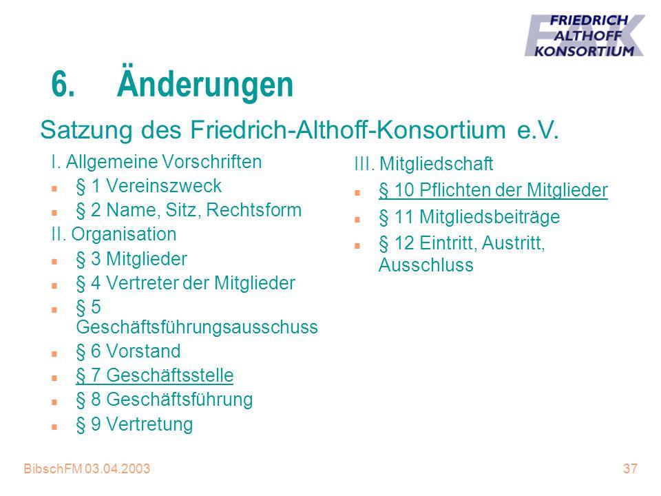 BibschFM 03.04.200337 6.Änderungen I. Allgemeine Vorschriften n § 1 Vereinszweck n § 2 Name, Sitz, Rechtsform II. Organisation n § 3 Mitglieder n § 4