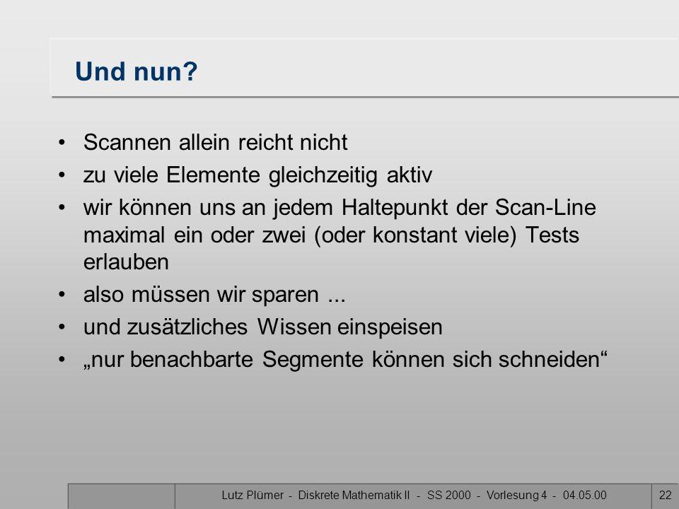 Lutz Plümer - Diskrete Mathematik II - SS 2000 - Vorlesung 4 - 04.05.0021 Gegenbeispiel zu viele Elemente gleichzeitig aktiv  O(n 2 )