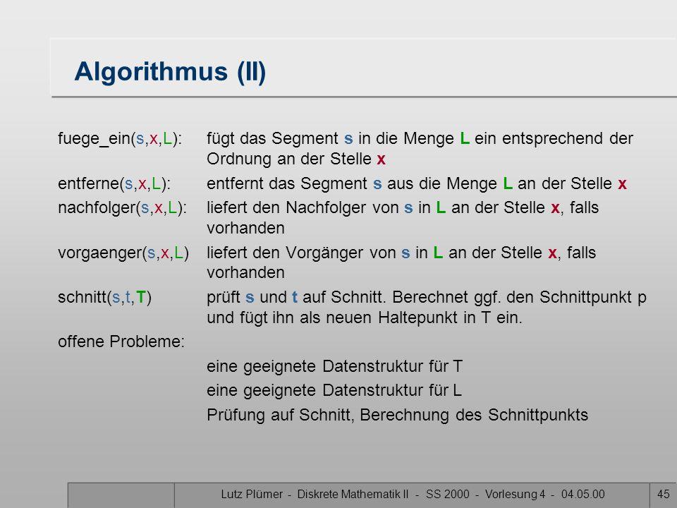 Lutz Plümer - Diskrete Mathematik II - SS 2000 - Vorlesung 4 - 04.05.0044 Algorithmus Scan-Line Input: S: eine Menge von Segmenten Output: die Schnitt