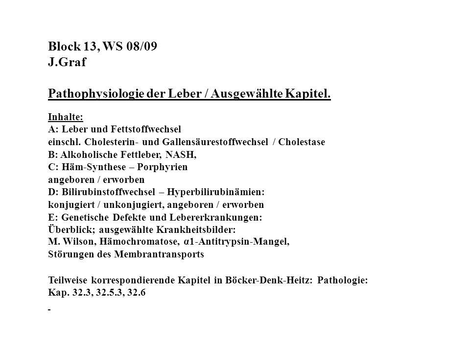 Block 13, WS 08/09 J.Graf Pathophysiologie der Leber / Ausgewählte Kapitel. Inhalte: A: Leber und Fettstoffwechsel einschl. Cholesterin- und Gallensäu
