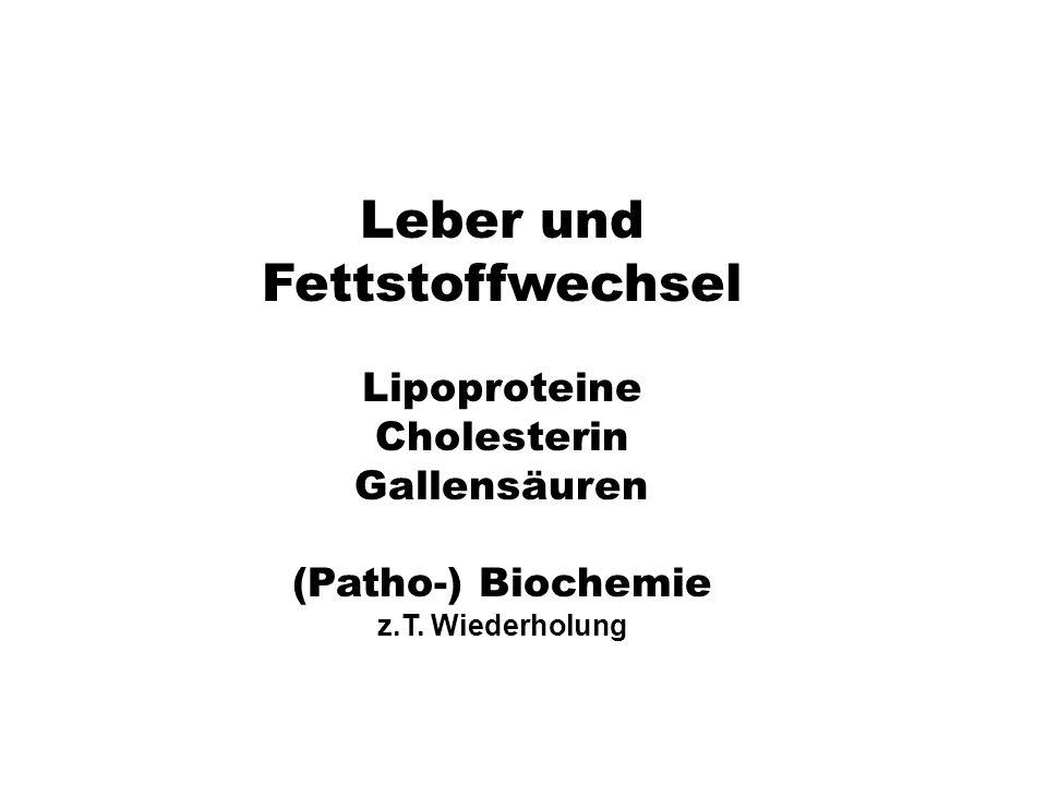 xx Leber und Fettstoffwechsel Lipoproteine Cholesterin Gallensäuren (Patho-) Biochemie z.T. Wiederholung
