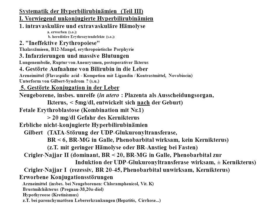 Systematik der Hyperbilirubinämien (Teil III) I. Vorwiegend unkonjugierte Hyperbilirubinämien 1. intravaskuläre und extravaskuläre Hämolyse a. erworbe