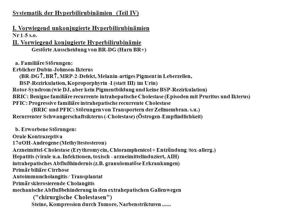 Systematik der Hyperbilirubinämien (Teil IV) I. Vorwiegend unkonjugierte Hyperbilirubinämien Nr 1-5 s.o. II. Vorwiegend konjugierte Hyperbilirubinämie