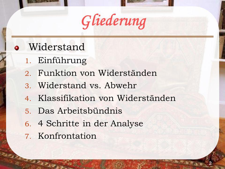 2 Gliederung Widerstand 1. Einführung 2. Funktion von Widerständen 3. Widerstand vs. Abwehr 4. Klassifikation von Widerständen 5. Das Arbeitsbündnis 6