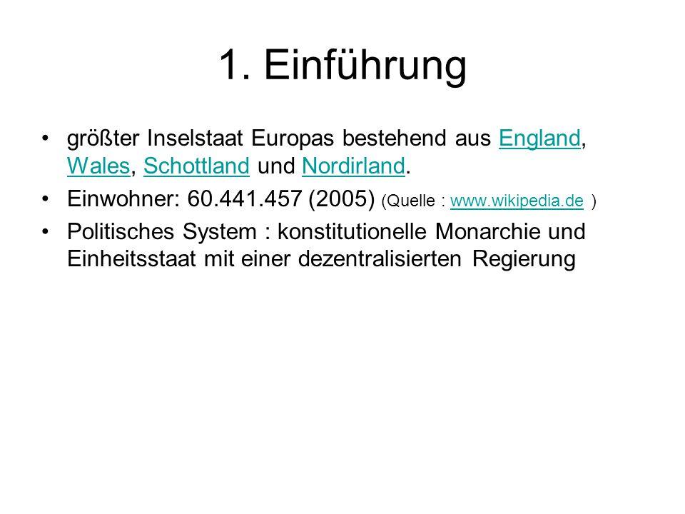 1. Einführung größter Inselstaat Europas bestehend aus England, Wales, Schottland und Nordirland.England WalesSchottlandNordirland Einwohner: 60.441.4