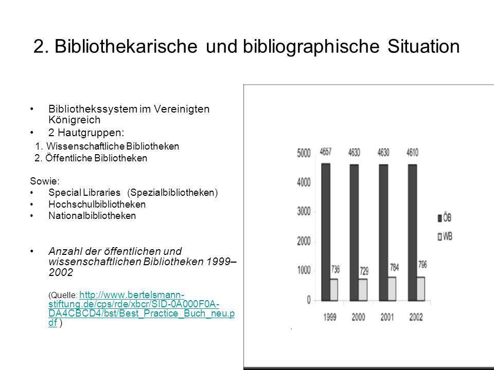 2. Bibliothekarische und bibliographische Situation Bibliothekssystem im Vereinigten Königreich 2 Hautgruppen: 1. Wissenschaftliche Bibliotheken 2. Öf