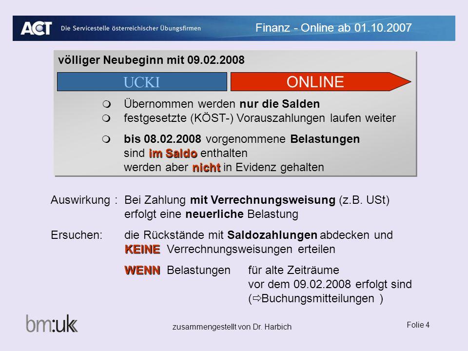 zusammengestellt von Dr. Harbich Folie 4 Finanz - Online ab 01.10.2007 Auswirkung :Bei Zahlung mit Verrechnungsweisung (z.B. USt) erfolgt eine neuerli