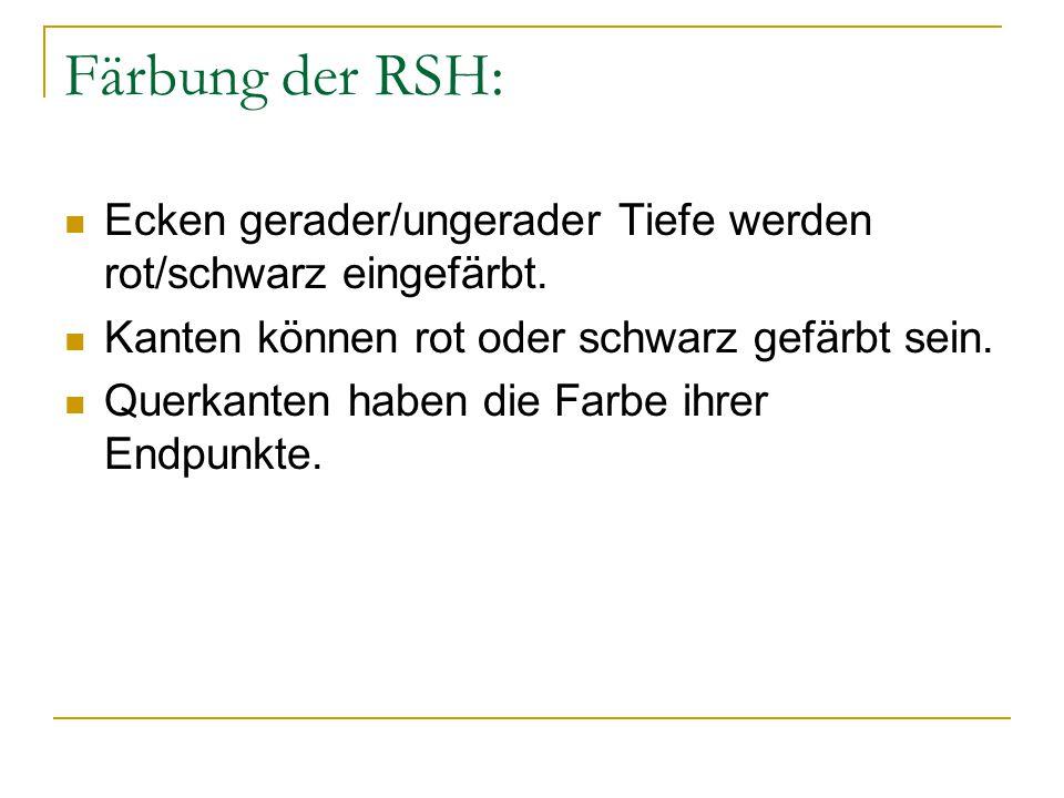 Färbung der RSH: Ecken gerader/ungerader Tiefe werden rot/schwarz eingefärbt.