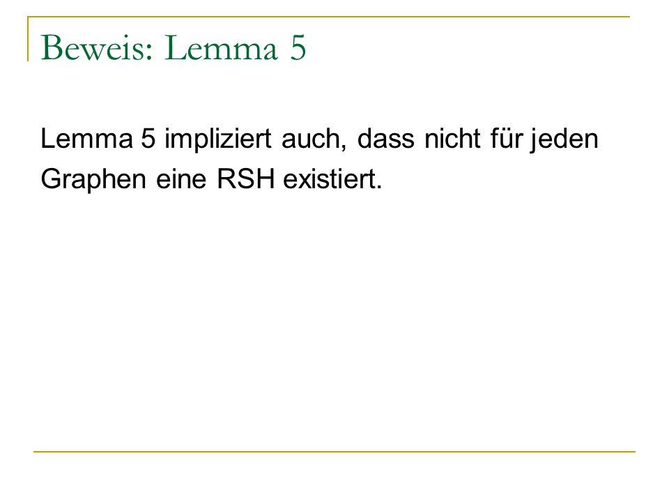 Lemma 5 impliziert auch, dass nicht für jeden Graphen eine RSH existiert.