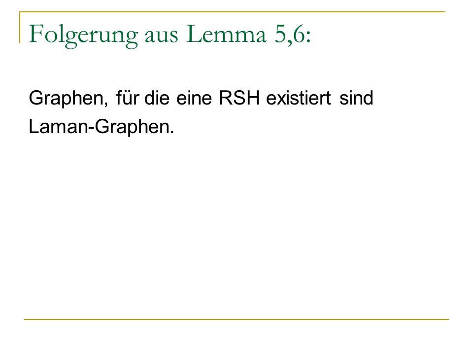 Folgerung aus Lemma 5,6: Graphen, für die eine RSH existiert sind Laman-Graphen.