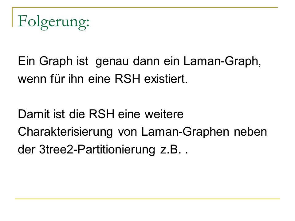 Folgerung: Ein Graph ist genau dann ein Laman-Graph, wenn für ihn eine RSH existiert. Damit ist die RSH eine weitere Charakterisierung von Laman-Graph