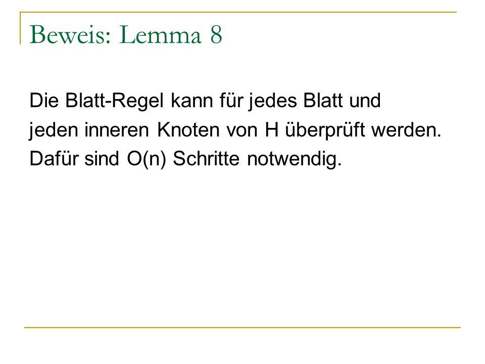 Beweis: Lemma 8 Die Blatt-Regel kann für jedes Blatt und jeden inneren Knoten von H überprüft werden.