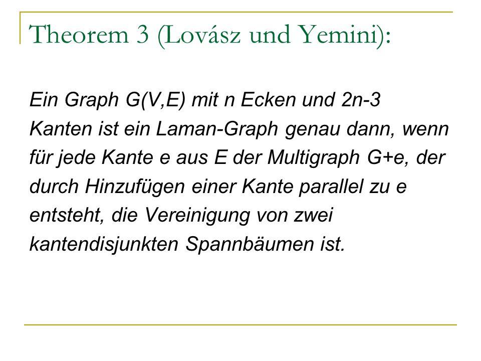 Theorem 3 (Lovász und Yemini): Ein Graph G(V,E) mit n Ecken und 2n-3 Kanten ist ein Laman-Graph genau dann, wenn für jede Kante e aus E der Multigraph G+e, der durch Hinzufügen einer Kante parallel zu e entsteht, die Vereinigung von zwei kantendisjunkten Spannbäumen ist.