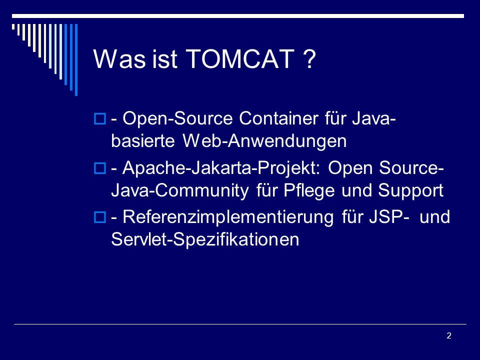 3 HISTORY  - Oktober 1999:SUN lizenziert den Code für die Servlet- und JSP-Technologie an die Apache-Gruppe  - seitdem Entwicklung eines Servlet- Containers mit Code-Namen Jakarta  - Ende 1999: erste Version des Containers veröffentlicht.