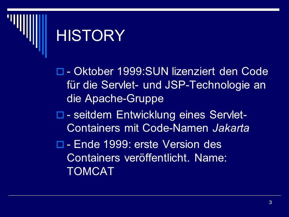4 VORAUSSETZUNGEN  - Windows 98/2000/ME/NT/XP  - Linux/Unix  - ab JDK 1.2 für TOMCAT-Version 4.0 Aktuelle Version 5.0