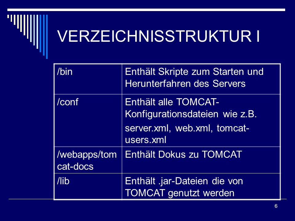 7 VERZEICHNISSTRUKTUR II /logsSpeicherung der Log-Dateien /scrServlets APIs Quellcodes /webappsEnthält beispielhafte Web- Applikationen /workWird automatisch angelegt um temporäre Dateien zu speichern
