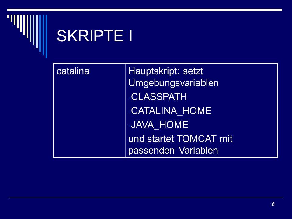 8 SKRIPTE I catalinaHauptskript: setzt Umgebungsvariablen - CLASSPATH - CATALINA_HOME - JAVA_HOME und startet TOMCAT mit passenden Variablen