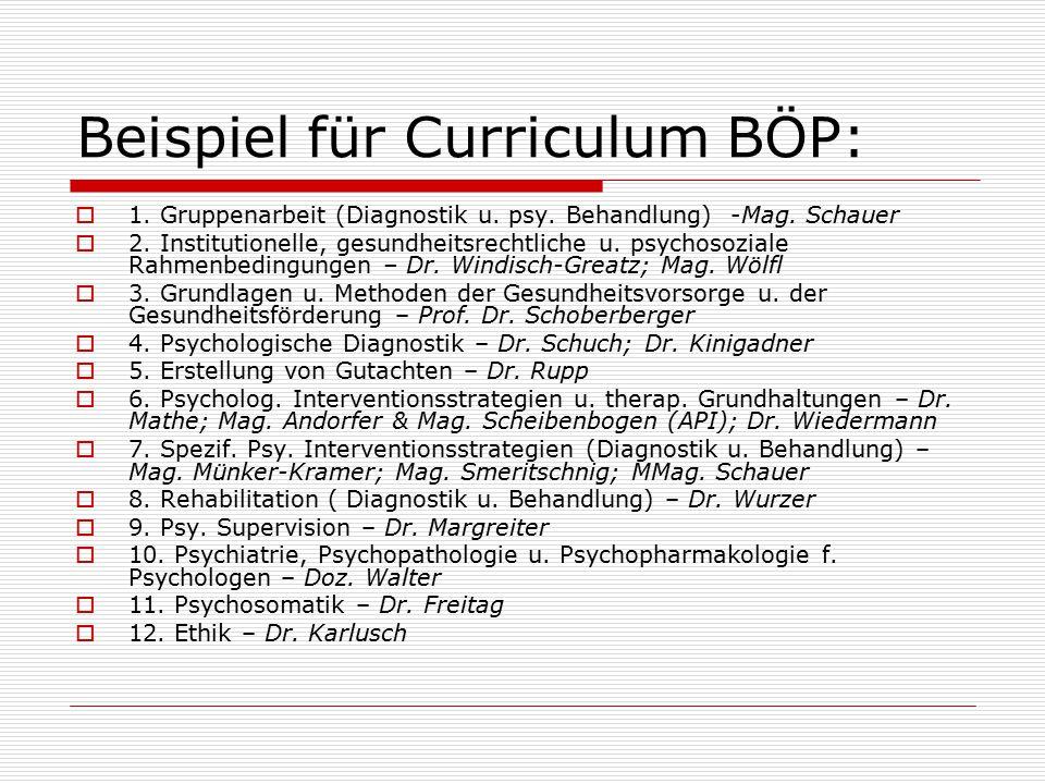 Beispiel für Curriculum BÖP:  1.Gruppenarbeit (Diagnostik u.