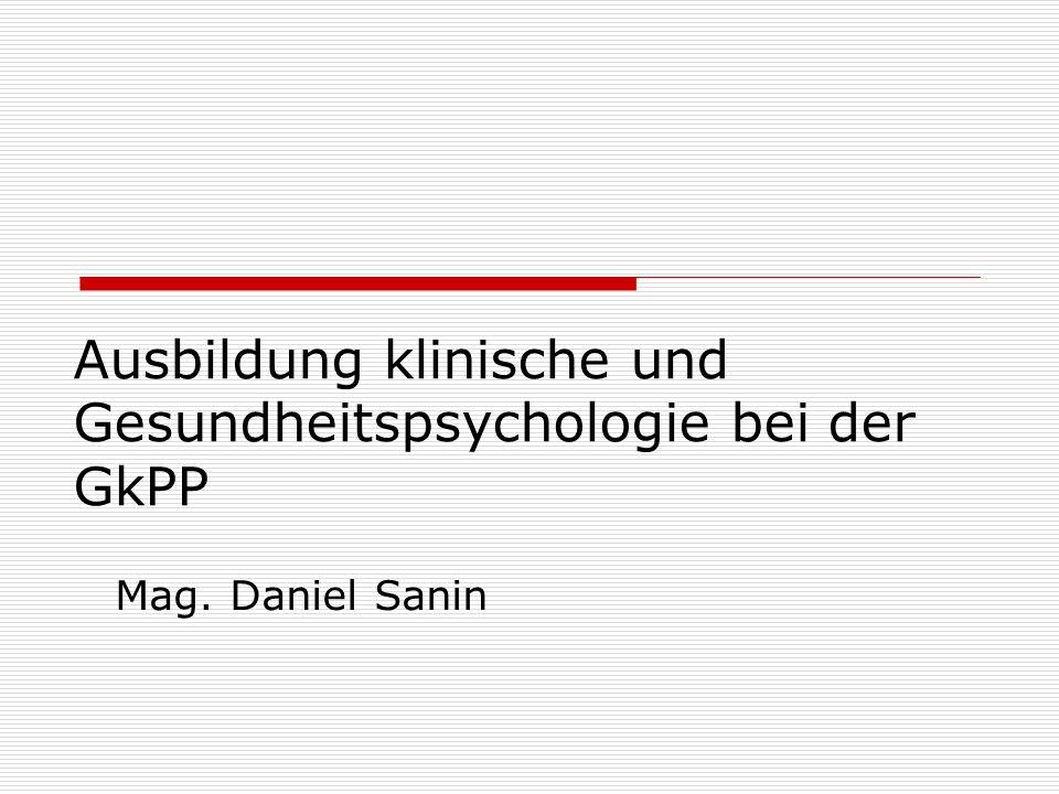 Ausbildung klinische und Gesundheitspsychologie bei der GkPP Mag. Daniel Sanin