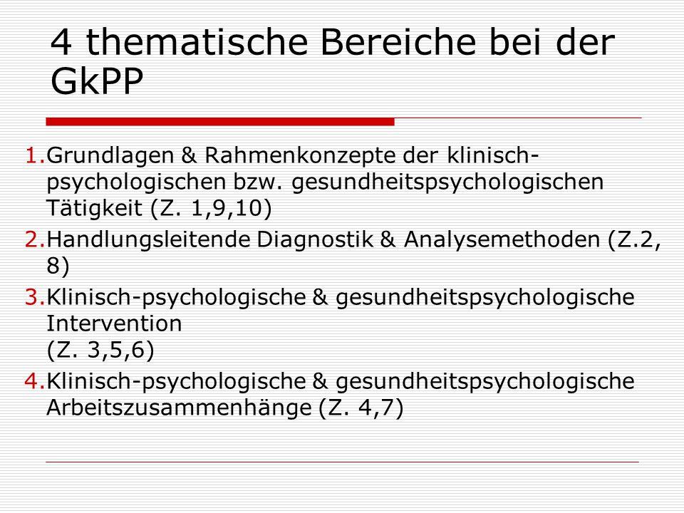 4 thematische Bereiche bei der GkPP 1.Grundlagen & Rahmenkonzepte der klinisch- psychologischen bzw.