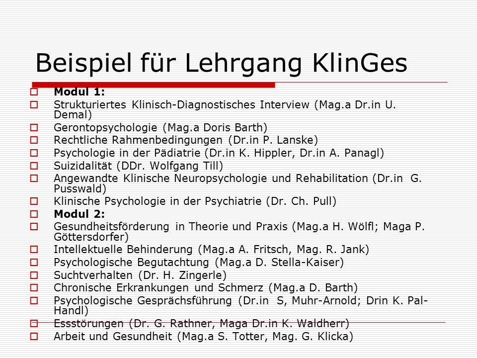 Beispiel für Lehrgang KlinGes  Modul 1:  Strukturiertes Klinisch-Diagnostisches Interview (Mag.a Dr.in U.