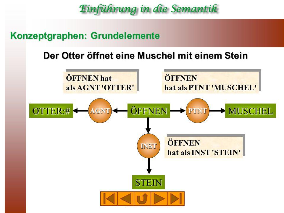 Konzeptgraphen: Grundelemente AGNT PTNT ÖFFNENOTTER:#MUSCHEL STEIN INST Konzeptknoten Relationsknoten Kanten