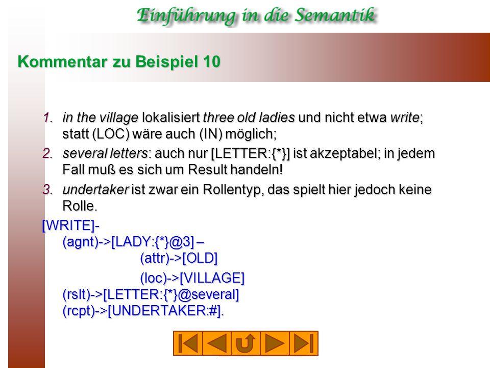 Kommentar zu Beispiel 10 1.in the village lokalisiert three old ladies und nicht etwa write; statt (LOC) wäre auch (IN) möglich; 2.several letters: auch nur [LETTER:{*}] ist akzeptabel; in jedem Fall muß es sich um Result handeln.