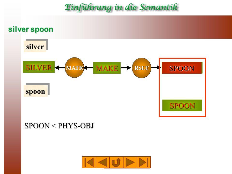 silver spoon SPOON SILVER RSLT MATR MAKE PHYS-OBJ silver spoon SPOON < PHYS-OBJ SPOON